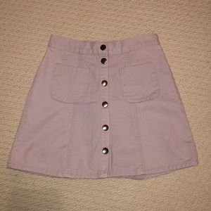 BDG Lavender Button-up Denim Skirt
